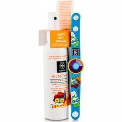 Фото Детский солнцезащитный набор Apivita Suncare Kids Protection Face and Body Spray SPF 50 (spray/150ml + UV/bracelet)