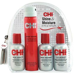 Дорожный набор для волос CHI Shine & Moisture Travel Kit (mask/59ml + shmp/59ml + silk/59ml + hair/spray/74g) фото