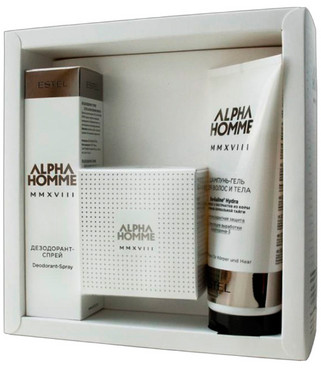 Фото Парфюмерный набор для мужчин Estel Professional Alpha Homme MMXVIII (perfume/50 ml + shamp/200mll + spray/100ml)