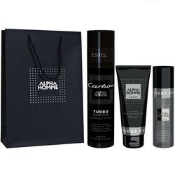 Фото Комплекс по уходу &bq;Carbon&bq; (подарочный) Estel Professional Alpha Homme (shamp/250ml + gel/100ml + lotion/100ml + bag)