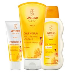 Фото Набор &bq;Мама знает, что лучше&bq; Weleda Calendula Series (shm/200ml + cr/75ml + oil/200ml)